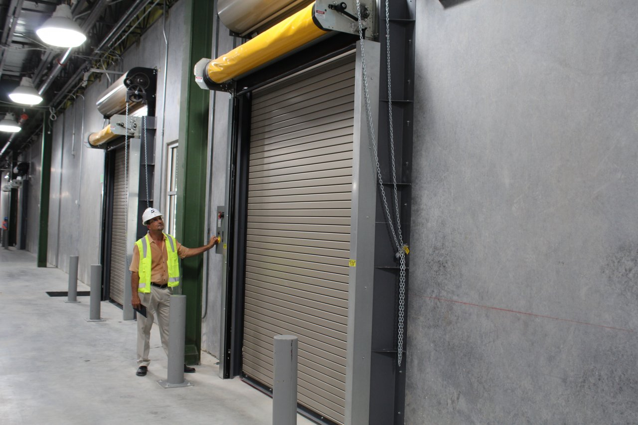 Equipment included high speed doors, fire doors, dock shelters, vertical shelters, vehicle retraints, and large commercial fans.